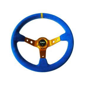 "Tyrex 4x4 Off Road Sports Steering Wheel 14"" Suede Blue and Gold"