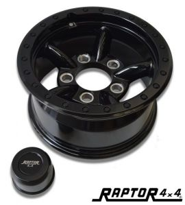 Raptor 4x4 HD 5 Pipe Alloy Wheel 8x16 ET10 Black Land Rover Defender Discovery RRC