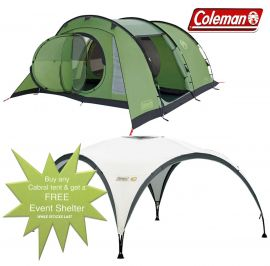 Coleman Cabral 4 Man Camping Tent + FREE Event Shelter 10 x 10ft - Small Image