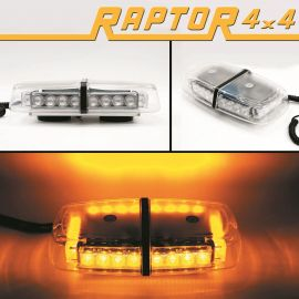 Raptor 4x4 Amber Mini Recovery Light Bar 24 LED 24w Flash Strobe Magnetic